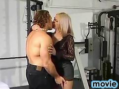 Blonde tranny with amazing tits screwing with dude