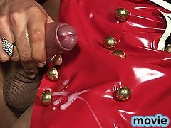 Samantha is so horny in her red latex that she jerks all over it