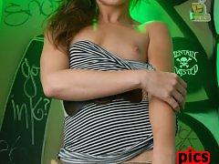 Naughty Jonelle Brooks masturbating in the toilet