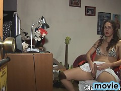 Horny tgirl Nikki playing with her sweet hot dick