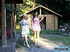 Horny tgirls Morgan and Juliette blowing each other in the forest
