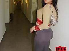 Curvy Brunette with Huge Ass hiding her Cocky Surprise in her Leggins