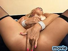 Naughty maid Samantha playing with her beautiful cock